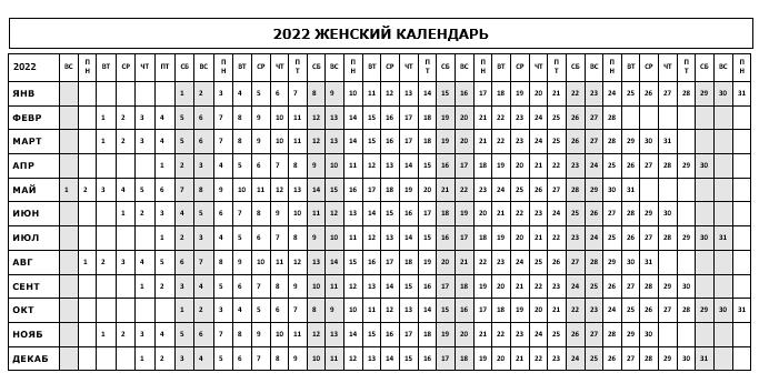 Женский календарик для отметки критических дней