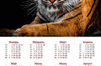 Настенный календарь с тигром 2022